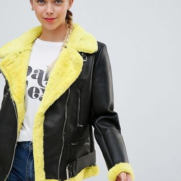 Bershka Faux Fur Contrast Biker Jacket at asos.com