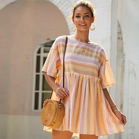 Striped Babydoll Mini Dress