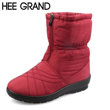 HEE GRAND Plus Size Flexible Cube Woman Boots High Quality Cozy Warm Fur Inside Snow Boots Winter Shoes Woman XWX3375