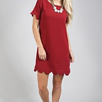pretty profesh scallop dress - wine