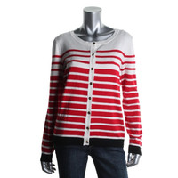 Debbie Morgan Womens Striped Long Sleeves Cardigan Sweater