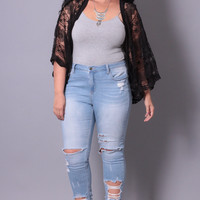 Plus Size Embroidered Lace Shrug - Black