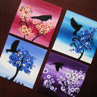 Tiny tree paintngs.  Personalized set. Use as wall decor or as coasters . Put these up with blutack (no holes or nails in the wall)
