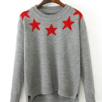 Gray Star Pattern Pullover Knit Sweater