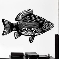 Wall Decal Fish Lake Sea Tribal Ornament Mural Vinyl Decal Unique Gift (z3169)