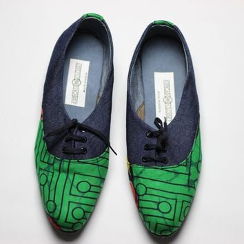 African Print /Ankara Flat Shoes (with laces) Denim detail - Red and Green Animal Print.