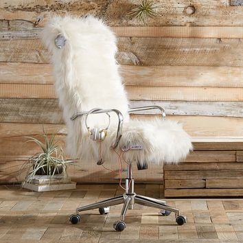 Himalayan Ivory Faux Fur Ultimate Desk Chair
