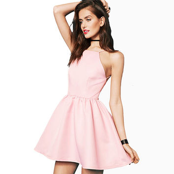 Pink Halter Backless Skater Dress