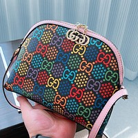 Gucci 2020 New Jumping Candy Collection Shell Marmont One Shoulder Shell Bag Makeup bag Wash Bag Pink