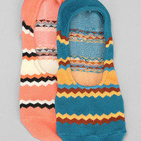 Zigzag Stripe No-Show Sock-Pack Of 2 - Urban Outfitters