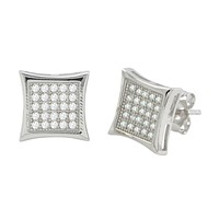 Sterling Silver Micropave Stud Earrings Kite Shaped Clear CZ 11mm x 11mm