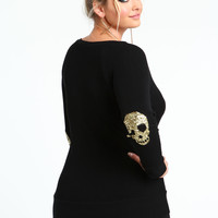 PLUS SIZE SEQUIN SKULL TOP