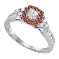 Diamond Bridal Ring with 0.20ct Center Princess Stone in 14k White Gold 0.63 ctw