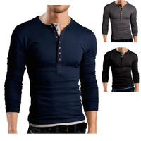 Henley Style Men's Fashion Slim Tee