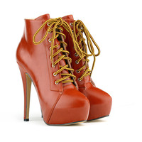 Super High Stiletto Heel Lace Up Ankle Boots