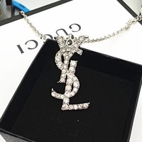 YSL Hot Sale Fashionable Letter Diamond Pendant Sweater Necklace Accessories Jewelry