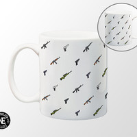 Counter Strike Gun Patterned Coffee Mug - 11 oz Coffee Mug - Assualt Rifle - Glock - USP - AK-47 - Sniper Rifle - Magnum Pistol