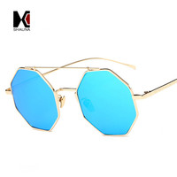 SHAUNA Hexagon Metal Frame Women Square Sunglasses Fashion Double Bridges Men Reflective Lens Glasses