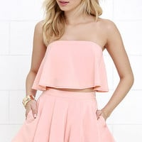 Squad Goals Peach Strapless Two-Piece Set