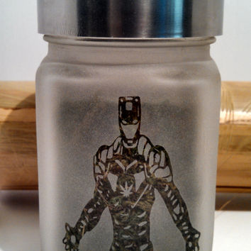 Dank Iron Man Etched Glass Stash Jar- Free UPGRADE to Priority Mail within the US