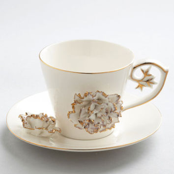 One Hundred 80 Degrees Luxe Gilded Up and Go Cup and Saucer Set