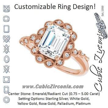Cubic Zirconia Engagement Ring- The Makayla Belle (Customizable 3-stone Design with Radiant Cut Center and Halo Enhancement)