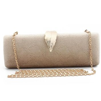 Snakeskin Leaf Buckle Clutch Bag