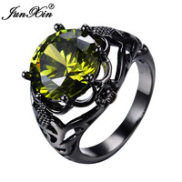 JUNXIN New Fashion Male Female Big Peridot Ring Black Gold Filled Vintage Wedding Rings For Men And Women Fashion Jewelry