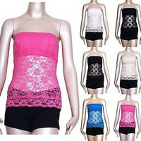 Women Floral Lace Crochet Strapless BANDEAU TUBE TOP PAD Stretch CAMI Tank TEE