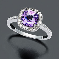 Victoria Townsend Sterling Silver Ring, Purple Amethyst (1-1/4 ct. t.w.) and Diamond (1/10 ct. t.w.) - FINE JEWELRY - Jewelry & Watches - Macy's