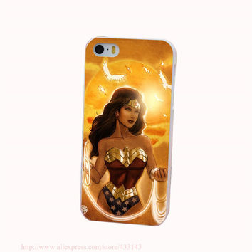 Wonder Woman New 52 Hard White Cover Case for iPhone 4 4s 5 5s 5c 6 6s Protect Phone Cases