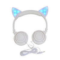 Foldable Flashing Glowing cat ear headphone LED light headphones microphone Gaming Headset cat headphone Earphone for phone PC