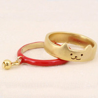 2 pcs New Fashion Gold Plated Cut Cat Rings With Pendants Lovely Boho Metal Animal Party Finger Rings for Women Aneis Jewelry