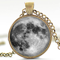 Full Moon Art Pendant, La Luna Necklace, Moon Jewelry (082)