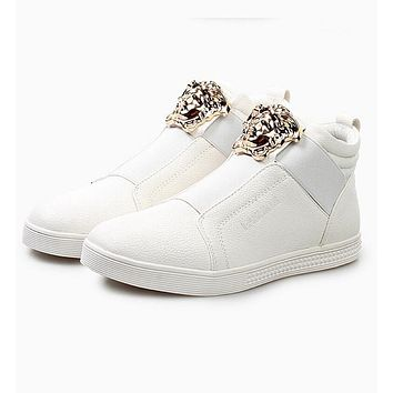Versace Fashion Women Men Personality High Help Low Help Sneakers Running Sports Shoes White High Help