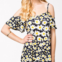 Chiffon Off-shoulder Daisy Print Mini Dress