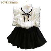 Girls Clothing Sets 2017 Summer New Girls Butterfly Sleeve Striped Shirt + Sweet Culottes Fashion Suit Kids Clothes