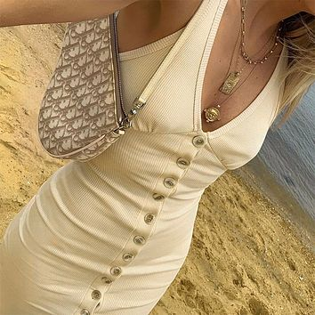 Hot style hot selling deep V pure color cow button slit dress