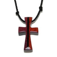 Cross Necklace, Men's Wood Cross Necklace, Simple cross Necklace, Gifts Under 20