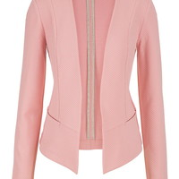 blazer with textured fabric in pink clay