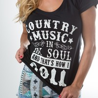 Country Music in My Soul Tee - Black