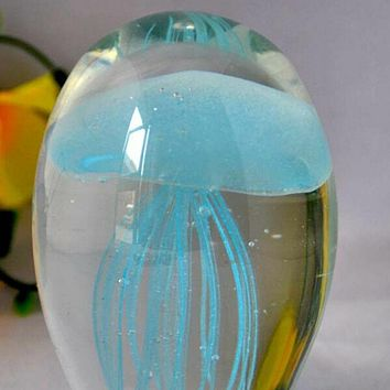 Jellyfish Paperweight Glow in the Dark WITH LED BASE Multicolor  Sky Blue
