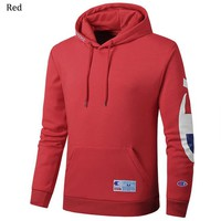 Champion autumn and winter plus velvet couple models long sleeve hoodies red