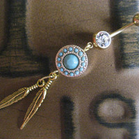 Medallion Faux Gold and Turquoise Dreamcatcher Dream Catcher Belly Button Ring Jewelry Piercing Bar Barbell Charm Feather Dangle