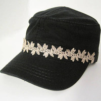 Black Cadet Army Hat with a Band of Gorgeous Feminine Ivory Lace Hats Accessories