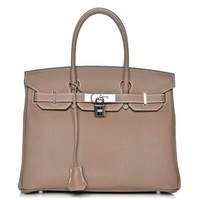 Hermes Birkin Togo Leather 30cm Etoupe Bag with Palladium Hardware