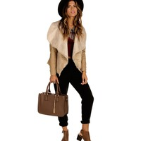 Sale-taupe Drape Collar Fur Jacket