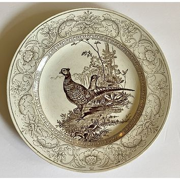 Wedgwood Circa 1903 Antique  Brown Transferware Pheasants Game Bird Plate Formosa