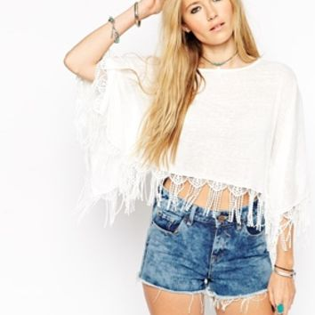 ASOS Poncho Top with Lace Trim