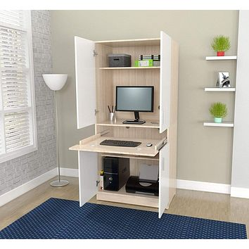 """Cheap Furniture - 67.3"""" White Solid Composite Wood Computer Work Center"""